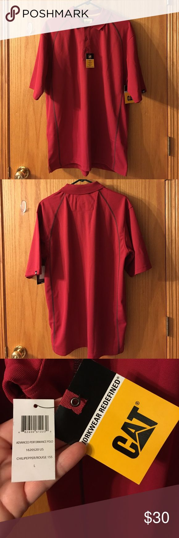 CAT men's performance polo shirt Men's red polo shirt by Caterpillar workwear. Advanced performance polo has moisture wicking fabric. Great for everyday casual wear not for work. CAT emblem on right sleeve. Mens size Large. 100% polyester. NWT Caterpillar Shirts Polos
