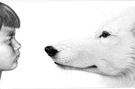 """Invitation"". Pencildrawing by Naja Abelsen. WOLF MYTH SERIES - www.123hjemmeside.dk/NajaAbelsen private ownership). Available as A3-photoprint 400 DKK / 54 Euro."