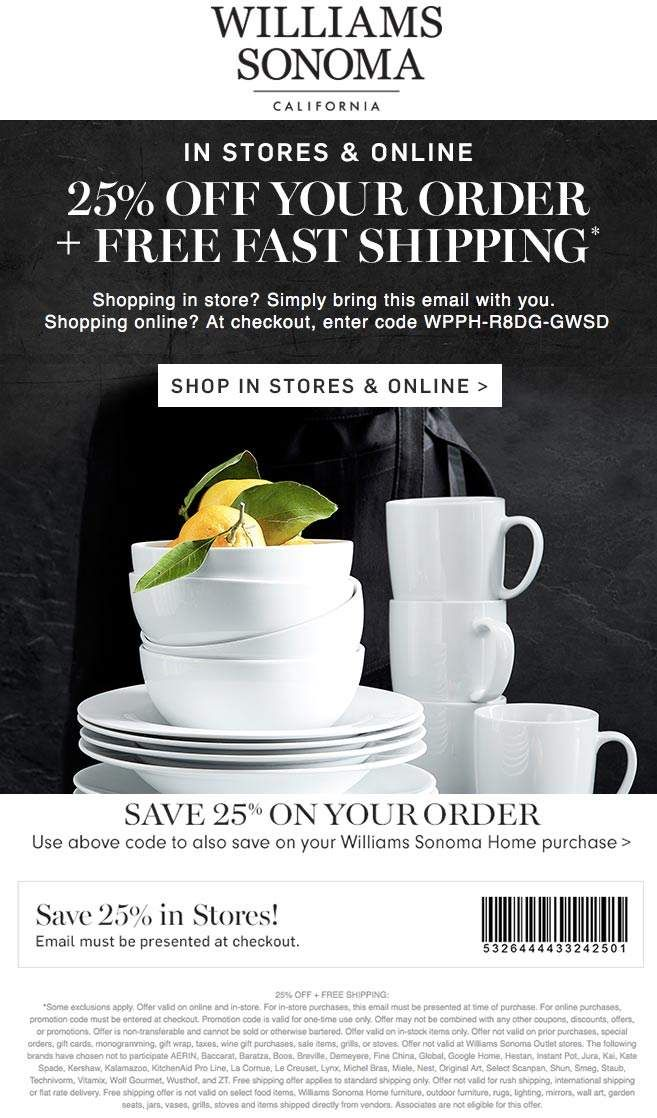 image about Williams Sonoma Coupons Printable referred to as Pinned July 6th: 25% off at Williams #Sonoma or on the web by means of