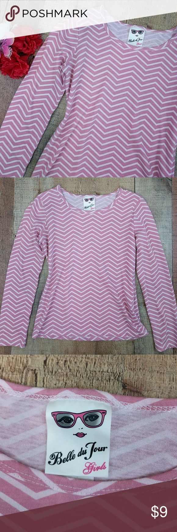 "Girls Chevron Top Pink Long Sleeve Tee Sz M Cute girls top. Chevron pattern pink and white size medium. Chest around at underarms 30"". Length from shoulder 19"". Sleeve from neck 22"". Clean. Smoke free. CT4 Belle Du Jour Shirts & Tops Tees - Long Sleeve"