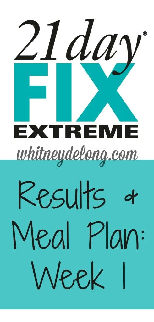 21 Day Fix Extreme Results and Meal Plan: Week 1