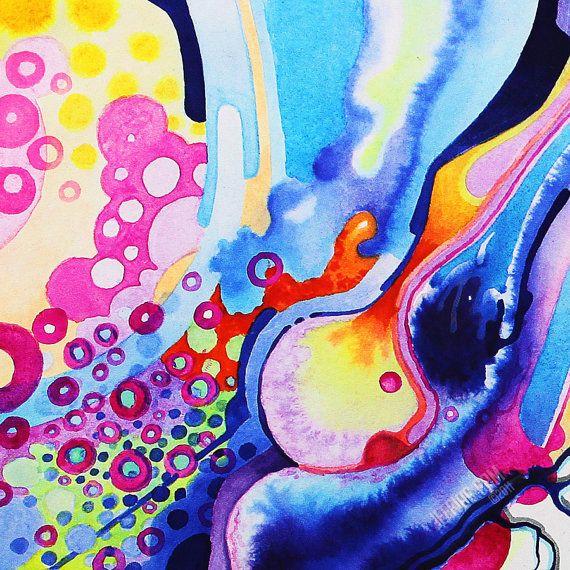 Abstract aquarel schilderij met een centrale circulaire object met overlappende shapes en andere vormen komen in contact met het. Het is abstracte kunst, dus de rest slechts mijn interpretatie is, maar het doet me aan cellulaire, microscopische beelden denken. Er zijn vertakkende vormen in het midden dat zou scheuren, aders of iets dergelijks, biologisch. Mijn vrouw merkte dat het haar deed aan een zonnevlam denken. Dit schilderij heeft een heleboel kringen in diverse koele kleuren met de…