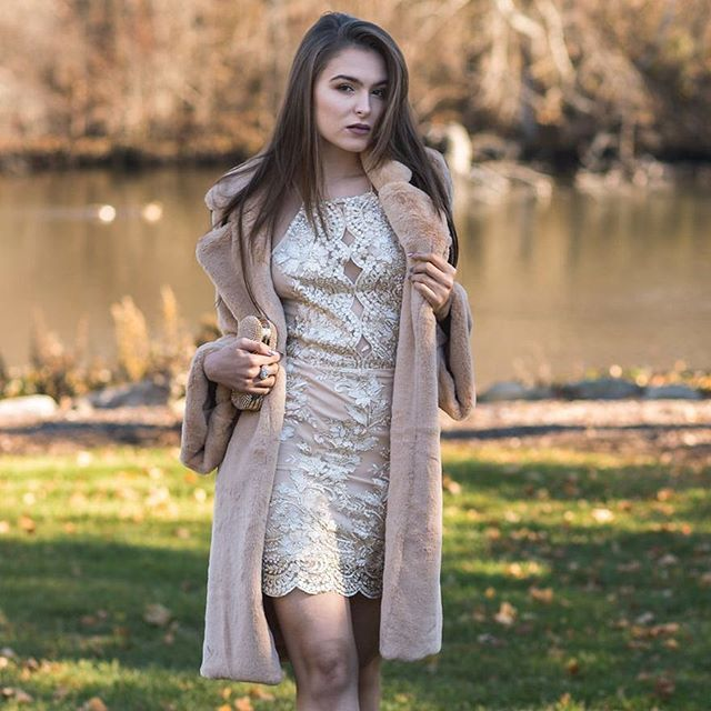 @natalienycgirl is rocking a perfect combo of @prettymissyinc gorgeous neutral bodycon dress and faux fur coat. @chrislobellophotography #shopprettymissy prettymissy.com