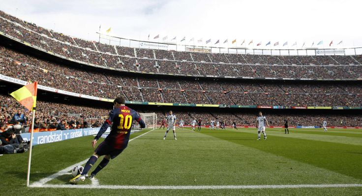 Lionel Messi takes a corner at the Camp Nou. | Football Stadia of the World | Pinterest | Camp ...