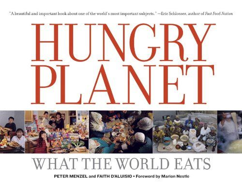 Hungry Planet: What the World Eats by Peter Menzel http://www.amazon.com/dp/0984074422/ref=cm_sw_r_pi_dp_ylOLtb14HH9XQZ17 Parte de este interesante trabajo documental se puede ver en la exposición montada en Universum museo de la ciencia.