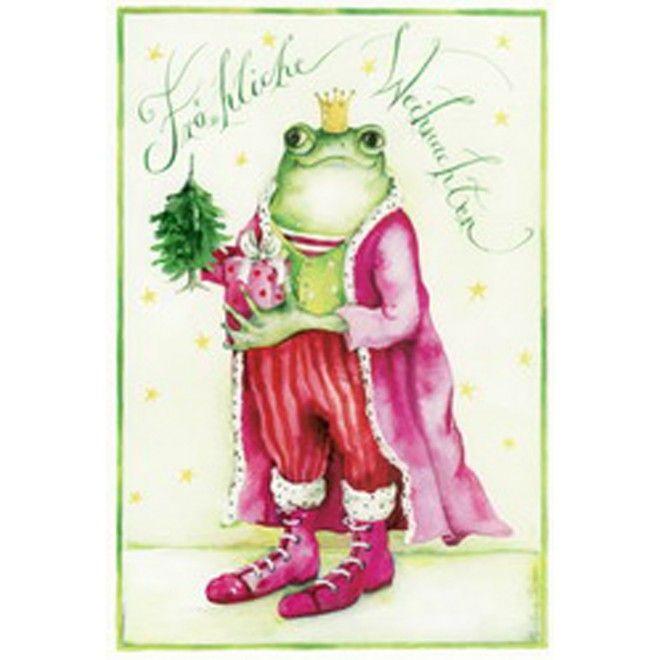 """Christina Thrän: Weihnachtskarte """"Weihnachtsfrosch"""""""