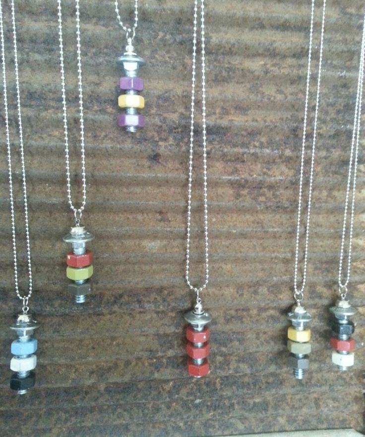 Nuts and Bolts Pendants by AddiesAdditions on Etsy