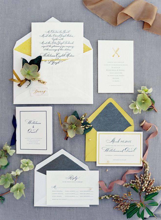 Rustic + elegant mustard invitation suite: http://www.stylemepretty.com/2016/05/31/yellow-rustic-durham-ranch-wedding/ | Photography: Jose Villa - http://josevilla.com/
