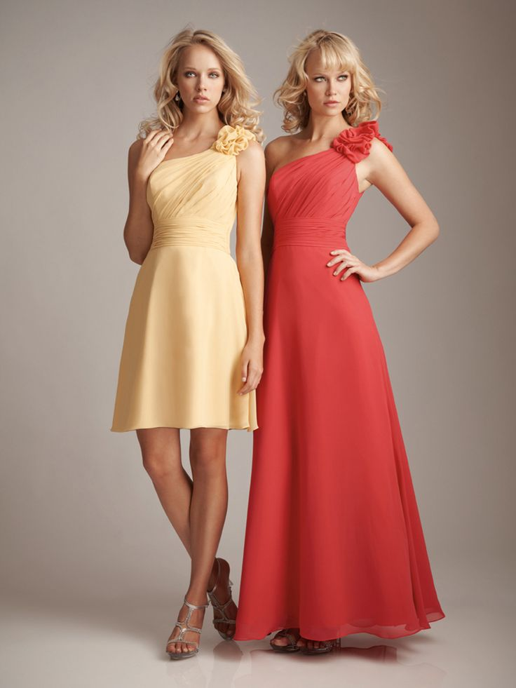 @BridalPulse Bridesmaids Dress Gallery | Allure Bridesmaids | Short  Empire Waist One Shoulder $$ ($101-250)