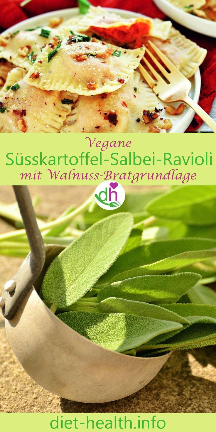 Die Süsskartoffel-Salbei-Ravioli bekommen durch das Anschmoren mit Walnüssen und Salbei einen unverwechselbaren und harmonischen Geschmack! Die Füllung können Sie mit verschiedenen Kräutern ergänzen, alternativ lassen sich auch übrige Pellkartoffeln verwenden! #vegan