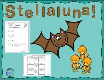 Stellaluna:  Stellaluna by Janell Cannon  is a delightful story of a bat and this activity includes  8 printables listed below. Includes:Describe Stellalunagraphic organizerHow did Stellaluna feel?Problem and Solution               Cause and Effect                                  Action Words VisualizeGraphic Organizer for Opinion WritingWould you Rather be a Bird or a Bat?