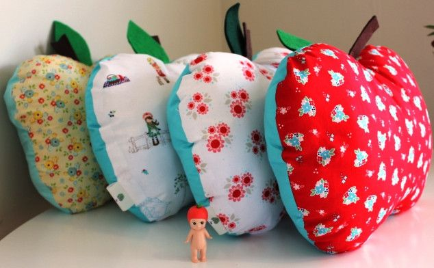 Gorgeous Apple & Pear cushions, lovingly handmade and available in a range of colours to suit your decor...
