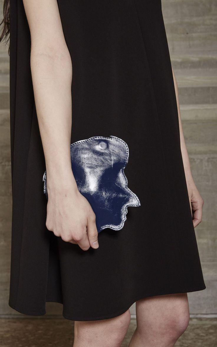 Leather portrait clutch bag, quirky fashion accessories // Rachel Comey