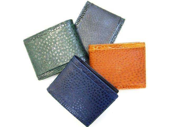 Australian emu leather wallet with emu leg trim and internal kangaroo leather, in various colours.