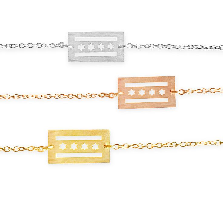 Dainty Chicago Flag Bracelet - I Love Chicago! A Daily Reminder of How Much You Love the Windy City