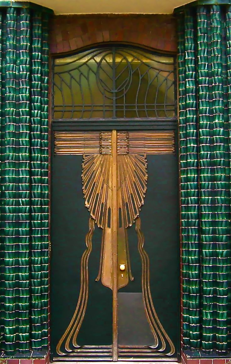 Architect Peter Behrens' design for the front of his home, 1901   Double doors of the Behrens House, Mathildenhöhe, Art Colony in Darmstadt, Germany, 2005; © Sally W. Donatello and Lens and Pens by Sally, 2011