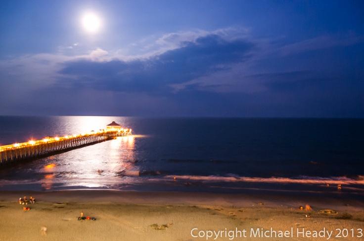 Moon over pier