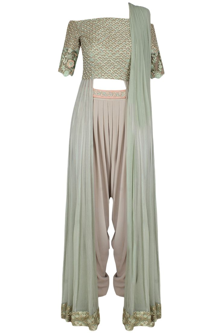 Mint green off shoulder front open anarkali with nude draped dhoti pants set available only at Pernia's Pop Up Shop.
