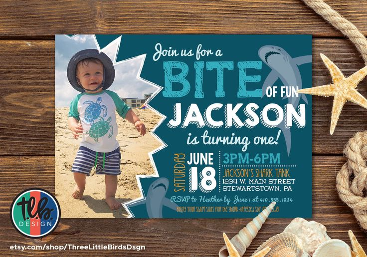 boy first birthday shark invite, bite of fun summer invitation, 1st birthday printable invitation, personalized by Heather Hughes