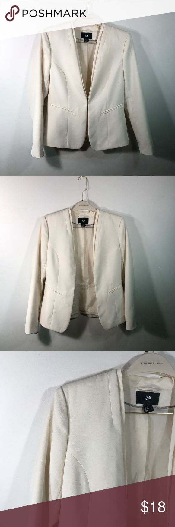 H&M White Egg Shell Fitted Work Academy Blazer Perfect blazer for work  Pairs well with skirt or dress pants - especially dark colored Great for spring and summer  Good condition  White color with tailored fit and blazer design on back  Chest: 17 Sleeve: 24 Length: 23 H&M Jackets & Coats Blazers
