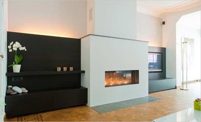 klassieke woonkamer met open haard gas en tv-meubel - kove interieurarchitecten