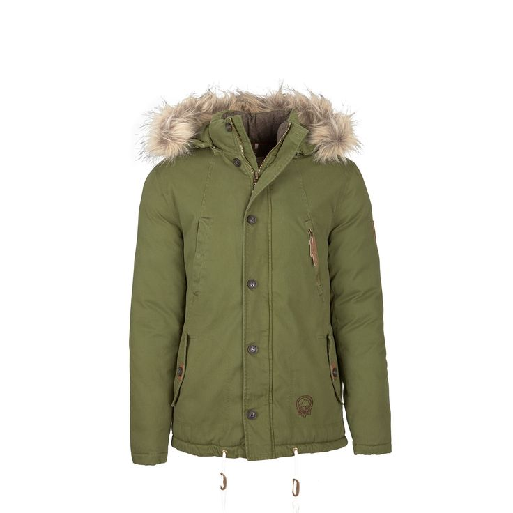 Casual looking twill parka with padded interior for protection against winter cold.