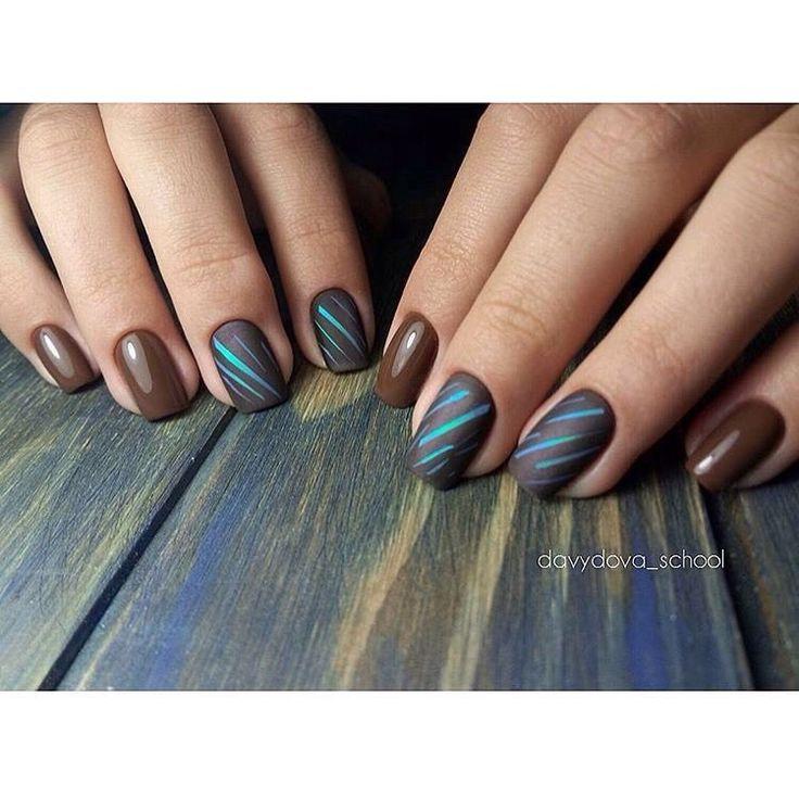 Brown nails, Fall nail ideas, Glossy nails, Matte nails, Matte nails with glossy…