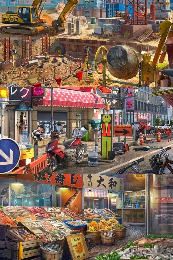 City streets 2D environment for hidden objects game in