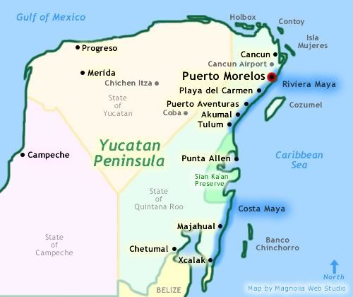 Puerto Morelos is a town and sea port in Quintana Roo, Mexico's easternmost state, on the Yucatán Peninsula.