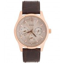 GUESS Multifunction Rose Gold Brown Leather Strap W0475G2