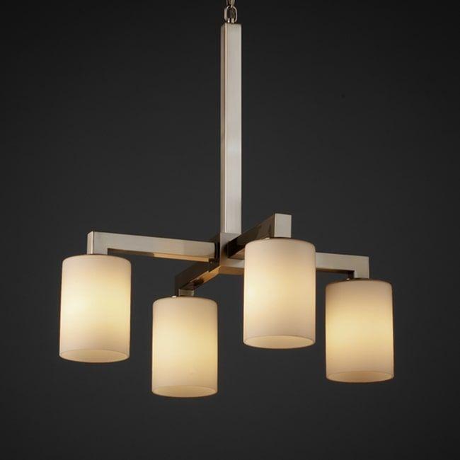 Justice Design Group 4-light Flat Rim Opal Cylinder Brushed Nickel Chandelier