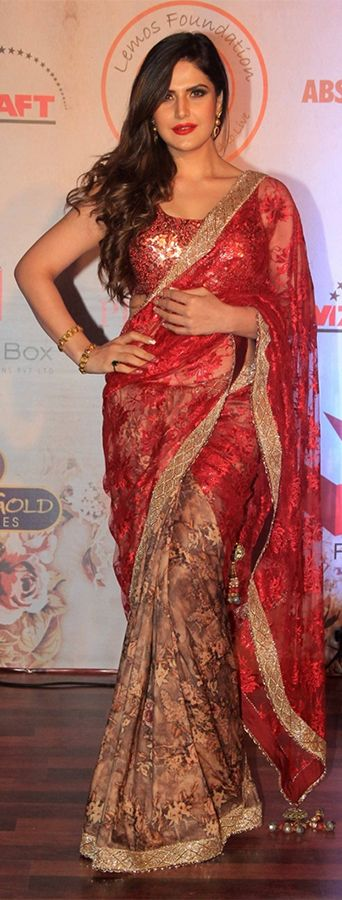 Zarine Khan in a designer saree at a fashion event in Mumbai. (Source: Pinterest.com)