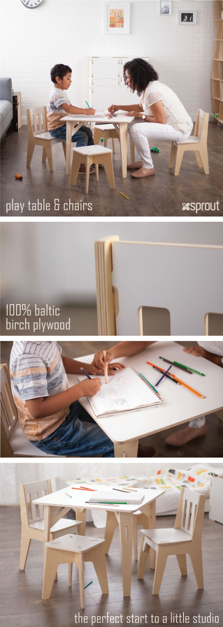 Every child needs a place to create, imagine, play, and dream. Start a little studio with Sprout's Wooden kids table and chairs. Play time was never so much fun, and there is room for friends, and even parents to join in. Children's table and chairs fit right into the modern aesthetic of a home, letting parent and kid space co-exist. Made from 100% Baltic birch plywood, the toddler's table and chair set is durable and will last your family for years.
