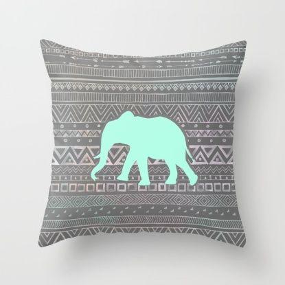 Mint Elephant  Throw Pillow
