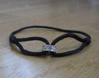 Desiderio di amicizia braccialetto, bracciale Infinity, amore bracciale, braccialetto di seta nero, bracciale, braccialetto di cristallo brillante