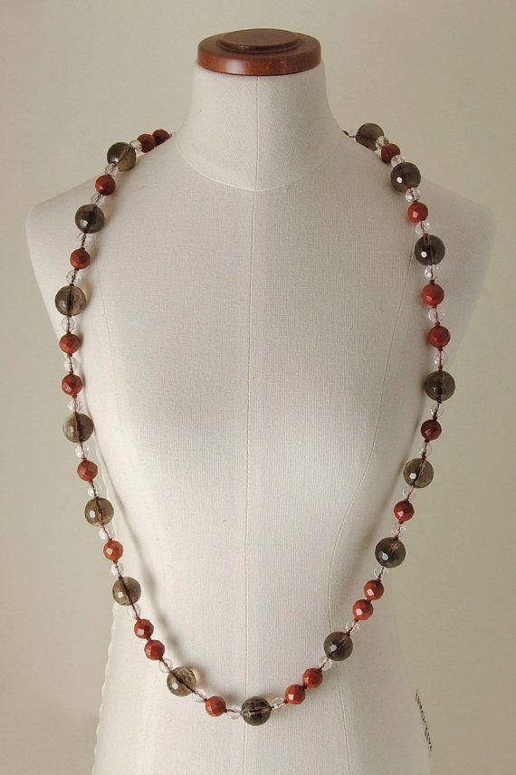 Smoky Quartz, Quartz and red Jasper necklace