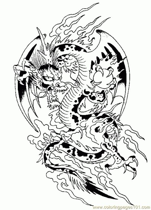 Challenging Dragon Coloring Page For Grown Ups Coloring