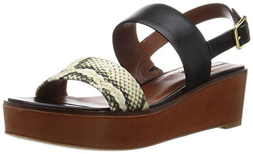 Cole  Haan  womens  cambon  wedge  platform  dress  sandal  black  leather roccia  snake  canvas acorn  suede