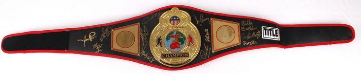 Boxing Legends Full-Size Championship Belt Signed by (12) with Oscar De La Hoya, Jake LaMotta, Aaron Pryor, Carlos Ortiz, Dwight Qawi (JSA ALOA)