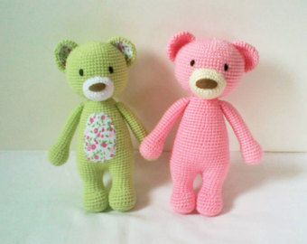 Handmade Crochet Pink Teddy Bear Beaufitul by ElaMakrelaCrochet
