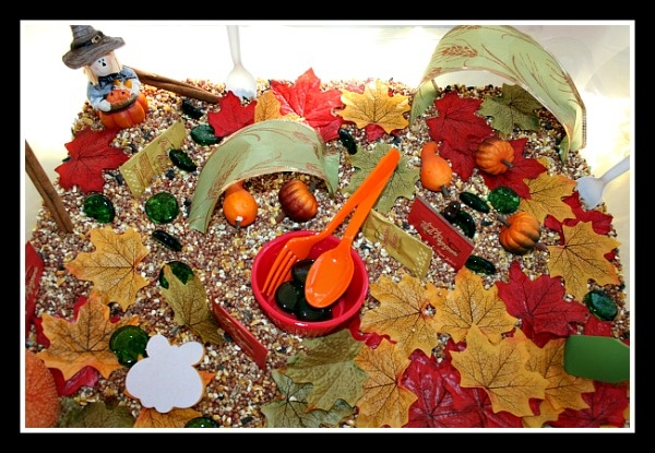 Cooking with leaves in our fall sensory bin.