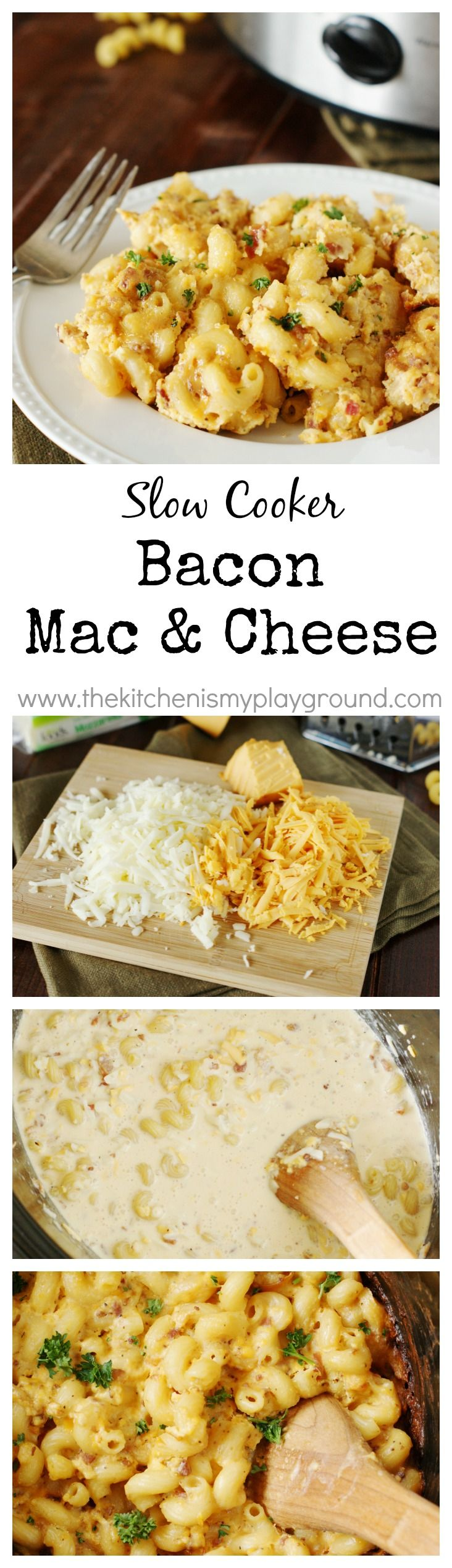 http://www.phomz.com/category/Slow-Cooker/ Slow Cooker Bacon Macaroni and Cheese ~ with two kinds of creamy cheese, bacon, and crockpot convenience, it will be a favorite at your house for sure! www.thekitchenismyplayground.com