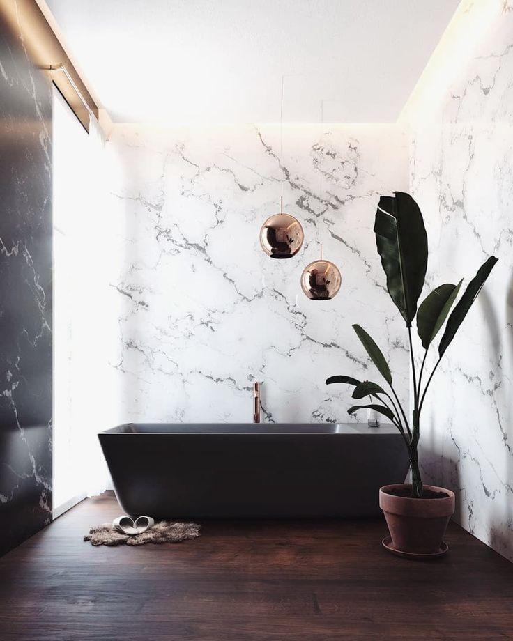 Modern Bathroom Inspiration Black Bathtub With Marble Wall Gold Lighting Fixtures Tall Plant And Dark Wood Floors Black Bathtub Interior Black Tub