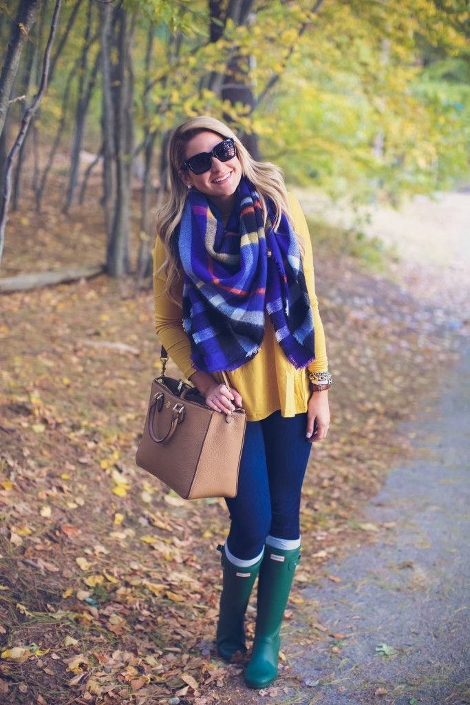 Outfit | Hunter Boots with Fall Plaid Scarf