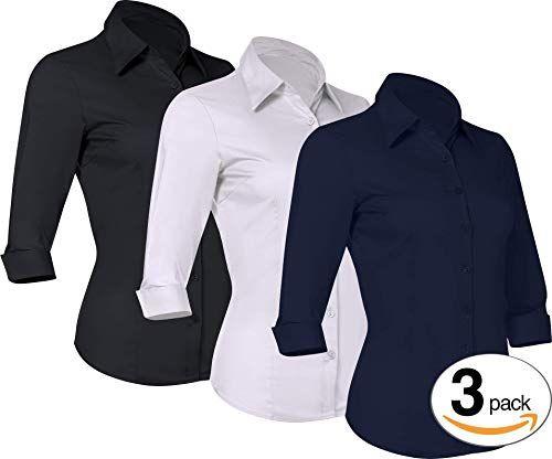 d2244a43306 Pier 17 Women s Button Down Shirts Tailored 3 4 Sleeve Sh... https