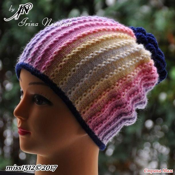 """""""Цепочки"""" - шапка спицами моей моднице. Поперечное вязание укороченными рядами + описание"""
