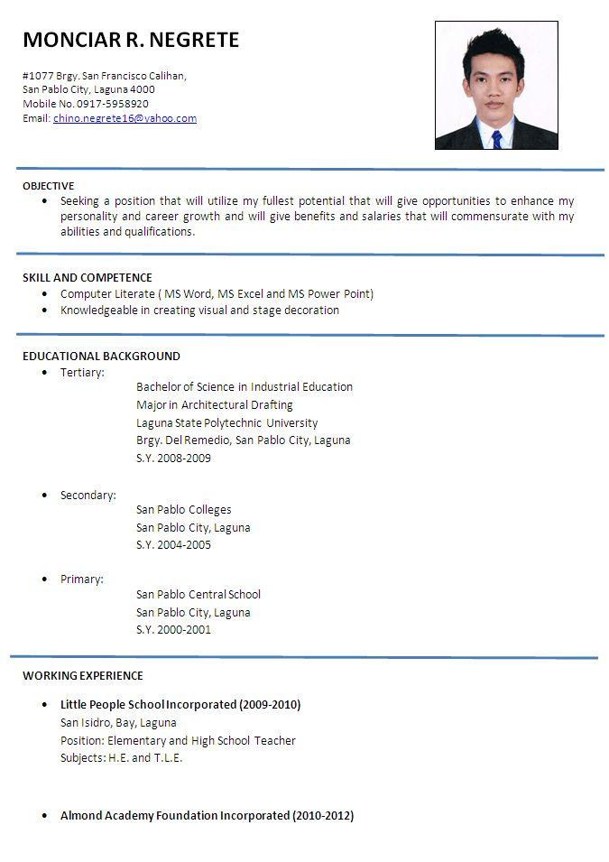 gallery for simple applicant resume sample daucyisz