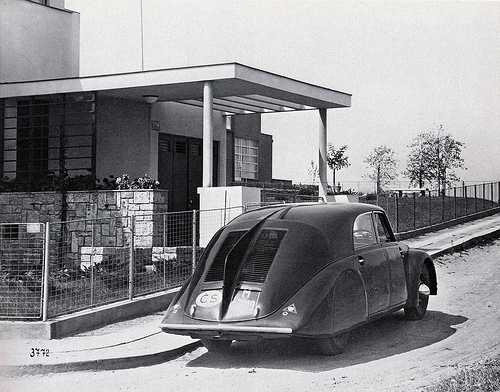 "1934, the first aerodynamic czech car TATRA parked in front of Villa Glücklich by architect Josef Gočár - one of the houses of the settlement ""baba"" that you can find in Jarní 3, Prague 6 - Dejvice"