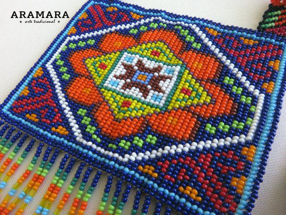 Mexican Huichol Beaded Chest Plate Necklace COG-0011 by Aramara