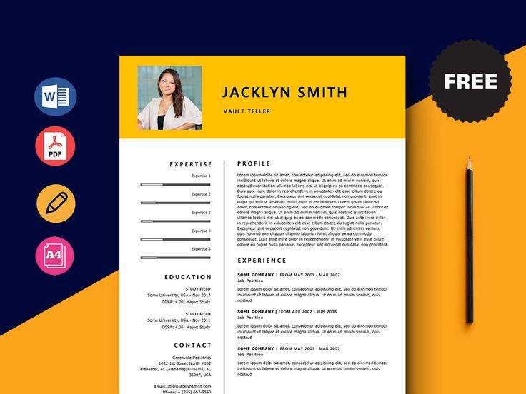 Free vault teller resume template with minimal and elegant